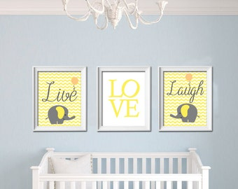 Live Love Laugh Elephant Printable Nursery Wall Art Yellow Grey chevron wall Decor Playroom Baby Shower gift INSTANT DOWNLOAD