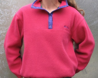 Vintage LL Bean Pink Fleece Snap Neck Pullover - Women's Size Small