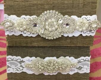 Wedding garter, Bridal garter, rhinestone and pearl garter, vintage garter