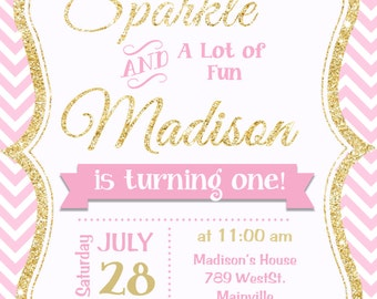 Pink and Gold invitation, Gold Glitter Invitation, 1st Birthday Invitation, Girl Birthday Invitation - Printable or Printed