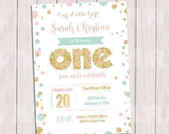 Pink, Mint and Gold invitation, Gold Glitter polka dot Invitation, 1st Birthday Invitation, Girl Birthday, Kids invite, Printable invite