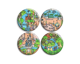"""Magic Kingdom map - pinback badge buttons or magnets 1.5"""""""