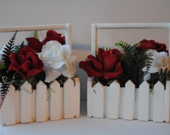 Hand Painted White Picket Fence Flower Baskets