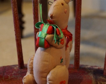 Vintage Christmas Ornament, Fabric Stuffed 1980s Christmas Squirrel