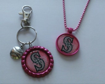 YOU PICK Pink Mariners Fan Backpack Clip/Purse Charm or Necklace