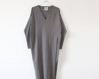 40% off Grey dress,long sleeve dress,v neck dress, knee length dress, casual dress, casual dresses for women,modern dress