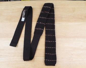 Brown Striped Mens Square End Knit Neck Tie - Sears Vintage Wool Necktie Trunk Tie