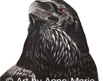 Merle, Black Crow, Acrylic Painting, Home Decor, Blackbird, Raven