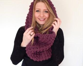 Chunky Knit Scarf - Cowl Neckwarmer - Chunky Crochet Scarf Snood // THE TAYLOR // Plum