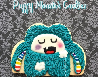 hairy monster decorated cookies  | puffy monster cookies |  Sugar Cookies | plush doll decorated cookies