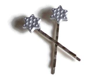 Silver Star Hair Pins, Celestial Stars Hair Jewelry