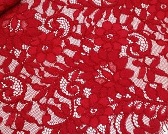 Red Lace Fabric, French Lace, Alencon Lace, Bridal lace Wedding Lace Evening dress lace Scalloped  Floral lace Lingerie Lace L110094