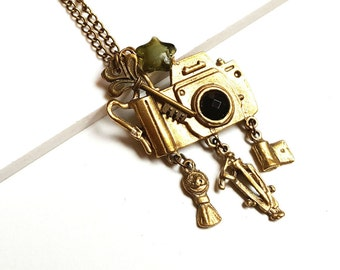 Vintage Style Camera set Necklace, Necklace with Camera set and key