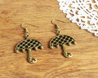 Vintage Style Bronze Tone Earrings with Umbrella, Boho Earrings