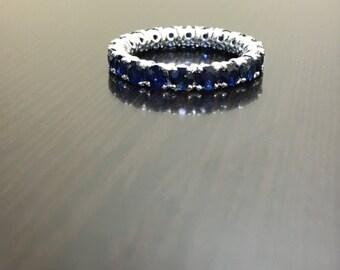 18K White Gold Eternity Sapphire Engagement Band - Art Deco 18K Gold Blue Sapphire Wedding Band - 18K Ceylon Blue Sapphire Eternity Band