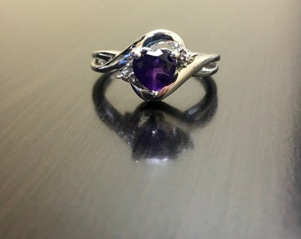 Amethyst Diamond Engagement Ring - Heart Amethyst Diamond Wedding Ring - Sterling Silver Amethyst Ring - Silver Diamond Amethyst Heart Ring