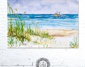 Beach Watercolor Print, Watercolor Landscape, Coastal Landscape, Coastal Wall Art, Ocean Painting, Seascape Print, Beach Artwork