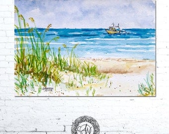 Beach Watercolor Print, Watercolor Landscape, Coastal Landscape, Coastal Wall Art, Ocean Painting, Seascape Print, Beach Artwork