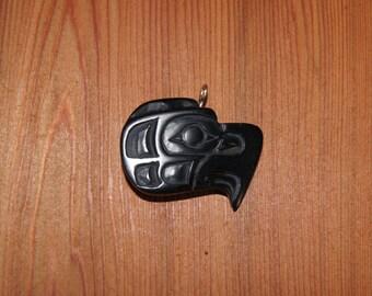 Pacifc Northwest Coast Native HAIDA GWAII Argillite Eagle Pendant