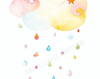 Nursery Rain Cloud Print - Colored Rain Cloud Art - Spring Cloud Baby Print - Rain Children's Illustration - Watercolor Nursery Print