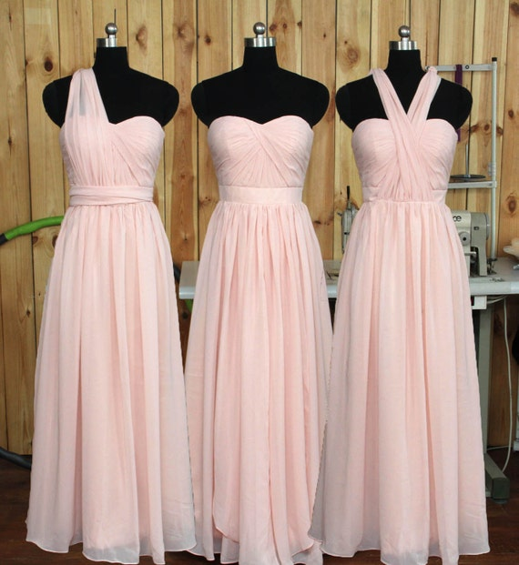 Convertible Blush Bridesmaid Dress Wedding Party Dress
