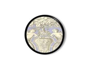 Vintage Inspired Cherub Urn Toile Dresser Knob, Blue, Cream, Gray, Victorian, Bath, Shabby, Neoclassical, Drawer Pull, Cabinet - 315D30 *