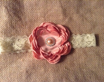 Girls/Newborn Flower Antique~Vintage Headband- pearls,lace and satin,newborn headband,photo prop,wedding,flower girl