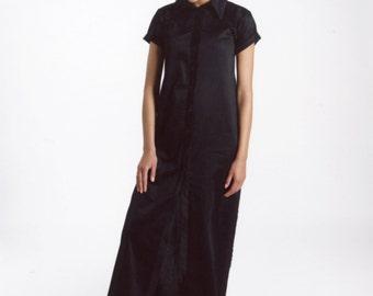 Black Shirt Dress, Spring Dress, Collar Dress, Button Up Dress, Button Down Dress, Maxi Dress Black, Short Sleeve Dress, Floor Length Dress