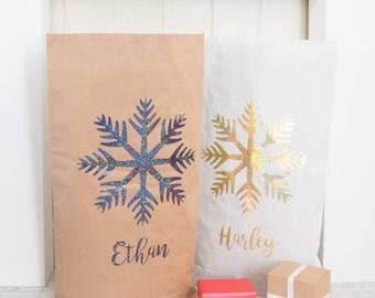 Christmas Santa Sack - Paper Sack with Glitter Snowflake - Personalised Christmas Sack