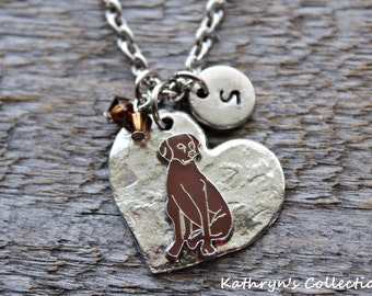 Chocolate Lab Necklace, Chocolate Lab Jewelry, Chocolate Labrador, Chocolate Lab Sympathy, Heart Dog, Chocolate Lab Gift