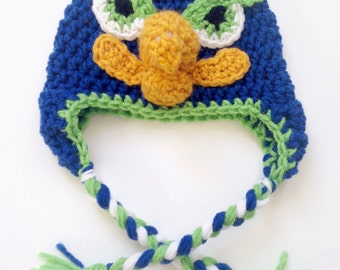 PATTERN** Crochet Seahawk Hat Pattern, All Sizes, Newborn to Adult