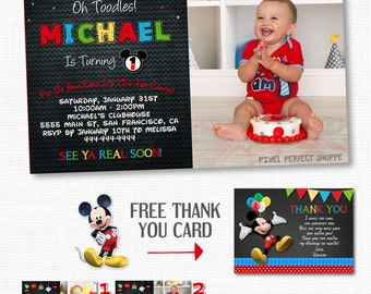 UP TO 4 PHOTOS Mickey Mouse Invitation, Birthday Invitation, Printable Invitation, Mickey Mouse Birthday Invitation, Chalkboard Invitation