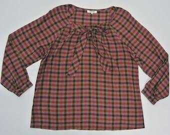 Sonia Rykiel Blouse Women Medium Sonia by Sonia Rykiel Check Tops Thin Rayon Fabric
