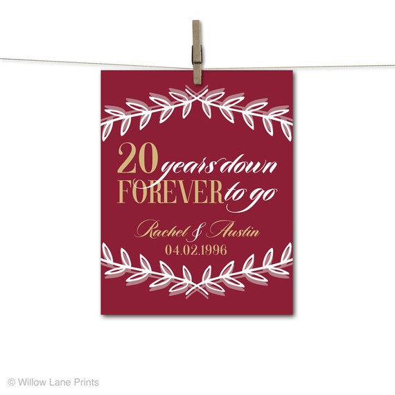 20th anniversary gift for husband or for wife - 20th wedding ...