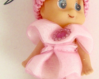 "Choice fo Color, Kids Baby Doll Ornament with Jewels, 3"" x 2"" Pink-33226, Blue-33217, Fuschia-33230"