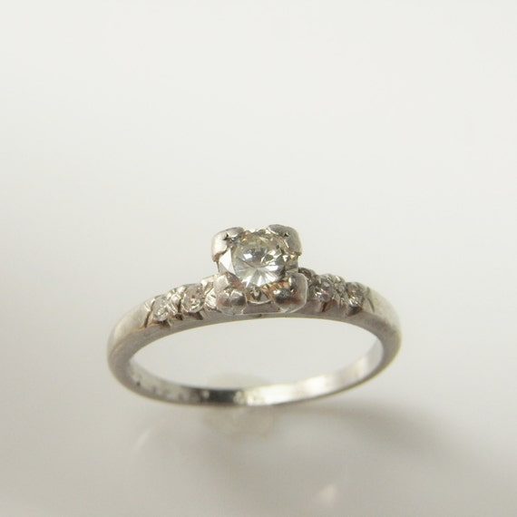 Art Deco Diamond Engagement Ring VS Handmade Platinum Wedding