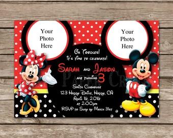 Minnie and Mickey Sibling Birthday Invitation, Digital File, You Print