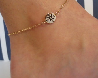 Compass Anklet/925 Sterling Silver/Gold/Journey Anklet/Graduation Gift/Nautical Anklet/Nautical Jewelry/Gold Anklet/Wanderlust Anklet