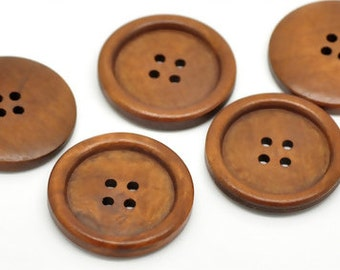 """Round Red Brown Wood Sewing Button - 1 3/8"""" - Pack of 6"""