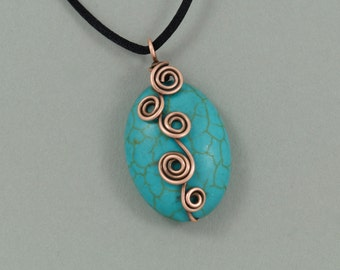 Turquoise Howlite Antiqued Copper Wire Wrapped Pendant Necklace on Satin Cord