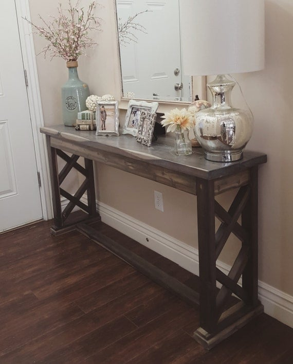 Rustic farmhouse entryway table sofa table by modernrefinement Table entree design