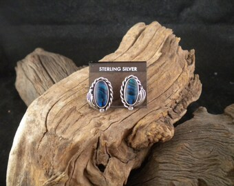 Earrings Deep Blue Paua Shell Sterling Silver Post and Clasp Handmade
