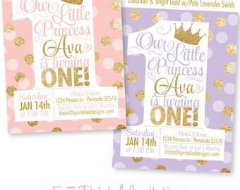 Princess Birthday Invitations, Blush Pink Gold Glitter Lavender 1st Birthday Invitations, First Birthday Girl, BIG ONE Princess Invitations