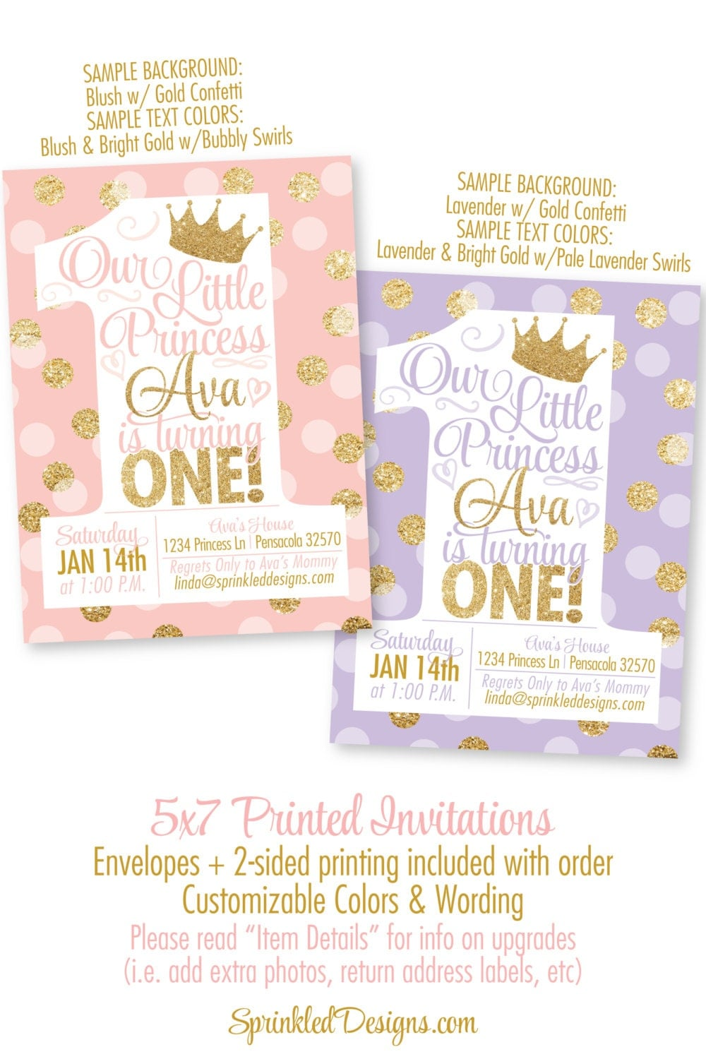 Princess Birthday Invitations Blush Pink Gold Glitter - First birthday invitations girl pink and gold