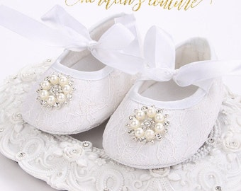 Baby Girls Shoes White Princess Rhinestone Pearl Shoes Christening Baptism Shoes Baby Crib Shoes Baby Shoes