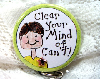 Can't is a dirty word-saying on retractable id badge holder for teacher/coach,badge reel for male teacher or coach,name tag teacher