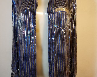 FREE  SHIPPING  1980 Sequin Bead Silk Jacket