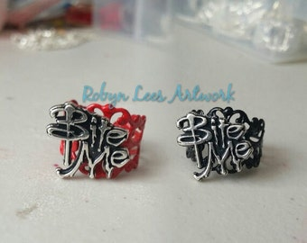 Red or Black Filigree Bite Me Vampire Adjustable Rings in Silver