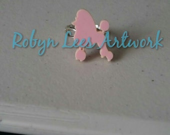Pale Pink Laser Cut Poodle Dog Silver Fully Adjustable Ring