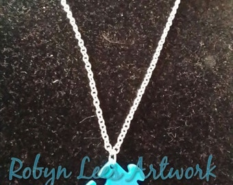 Autism Awareness Blue Jigsaw Puzzle Piece Necklace on Silver Crossed Chain